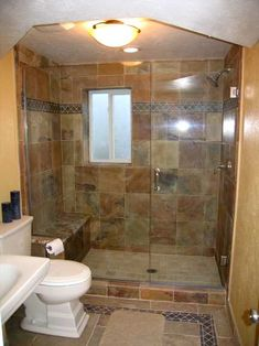 Master Bath With Just Shower love all the tileand the shower/tub combo with the doors