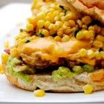 The Iowa Burger Recipe - this burger's got it all - bacon, avocado, cheese, fresh corn relish, a little maple syrup and more