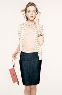 Denim pencil skirt, pink shell and striped cardigan Looks Chic, Looks Style, My Style, Work Fashion, Modest Fashion, Fashion Outfits, Classy Fashion, Fashion Models, Fashion Shoes