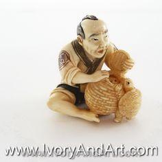 Mammoth Ivory Netsuke - Old Man Catching Turtle