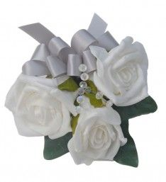 White Foam Rose Wedding Day Pin on Corsage with Silver Ribbon