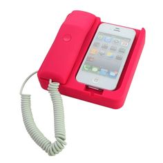 Classic Home Office Desk Telephone Retro Phone Corded Handset for iPhone 4S/4 - Red US$16.69