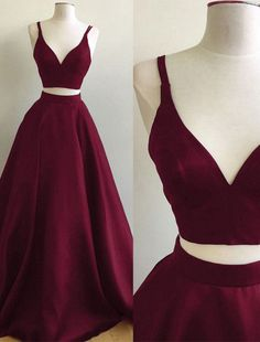 Burgundy Two Piece Straps Sleeveless V Neck Satin Prom Dress,A-line Puffy Evening Gowns,Prom Dress Long