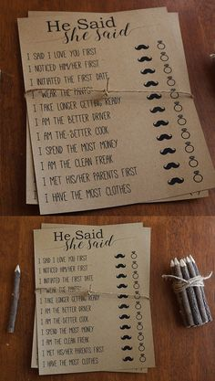 He Said She Said Bridal Shower Printable Game - Rustic, Funny, Fun, Caligraphy, Original Printable Bridal Shower Game Qustions
