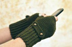 Gloves – Crochet mittens, kaki green fingerless gloves – a unique product by GrannyKnowsBest on DaWanda