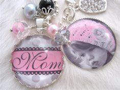 MOTHER GIFT necklace personalized PINK and Grey polka dot Bottle cap Jewelry Mother Photo Pendant Keychain Chidrens, glass dome Wedding Shabby Chic    http://www.etsy.com/listing/91658799/mother-gift-necklace-personalized-pink