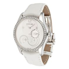 Womens Bressel Watch with Diamond Bezel & White Alligator Strap <3     I so want one of these