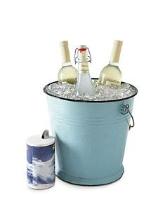 Flash Freeze, here's a great way to chill beverages in time for an impromptu backyard barbecue. Place wine or other bottles in a bucket; add a layer of ice, followed by a layer of salt (coarse or table); repeat until you almost reach the top. Fill the bucket with cold water to just below the ice line. The water in the ice bucket will be colder than normal, chilling the libations in less than 10 minutes.