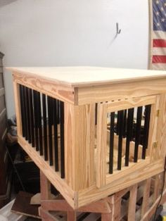 fancy dog crates furniture. wooden dog crate with metal bars. $300.00, via etsy. paint it white? fancy crates furniture e