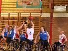 Wheelchair basket ball players