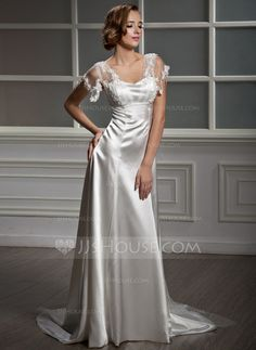 Wedding Dresses - $187.69 - A-Line/Princess Sweetheart Watteau Train Tulle Charmeuse Wedding Dress With Lace (002012162) http://jjshouse.com/A-Line-Princess-Sweetheart-Watteau-Train-Tulle-Charmeuse-Wedding-Dress-With-Lace-002012162-g12162