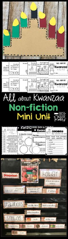 This mini unit will teach your students about the African American holiday, Kwanzaa. Included is   a mini informative book. There are reading strategies, writing, and loads of word work activities. Two crafts are included a kwanzaa quilt craft and a kinara craft. Colorful cards are included to talk about the traditions, and symbols. This is a part of a larger bundle which discusses 6 different winter holidays. Perfect for kindergarten, first grade, and second grade holiday fun.