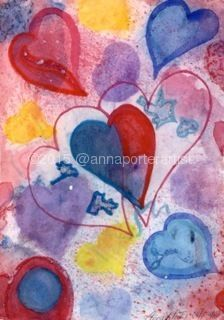 valentine for george, watercolor and mixed media by Anna Porter mixed media ~ 13 in. x 9 in.