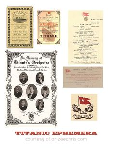 This is a page of Titanic ephemera printages.  I really like the menu and boarding pass the best.