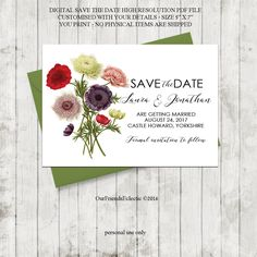 Printable save the date, botanical Save the Date, custom save the date, floral save the date, digital save the date, instant download, 7 x 5 by OurFriendsEclectic on Etsy