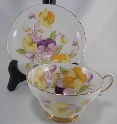 Vintage Stanley Fine Bone China England Tea Cup & Saucer - Pansies #Stanley