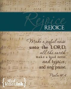 Wall Art - REJOICE (turquoise on old music score) Psalm 98.4 - 8 x 10 Print. $20.00, via Etsy.