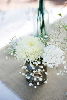 Tin can flowers with twine