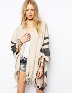 Pin for Later: 14 Blanket Scarves So Luxe You'll Want to Wear Them Over Everything ASOS Stripe Blanket Cape ASOS Stripe Blanket Cape (£25)