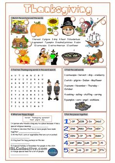Thanksgiving Vocabulary Exercises worksheet - Free ESL printable worksheets made by teachers Thanksgiving Worksheets, Thanksgiving Words, Thanksgiving Crafts, Vocabulary Exercises, Vocabulary Worksheets, Printable Worksheets, English Lessons, Learn English, Classe Harry Potter