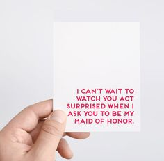 Funny Maid of Honor Card MOH Ask Card Maid of by SpadeStationery