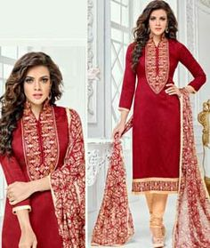 Buy Red Chanderi Cotton Churidar Suit 72172 online at lowest price from huge collection of salwar kameez at Indianclothstore.com.