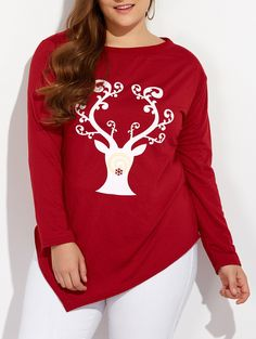bc9bde6a696 Plus Size Christmas Print Elk Print Skew Neck Longline Tee Women long Top  Casual T-Shirts