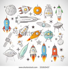 Collection of sketchy space objects isolated on white background.. Space ships…