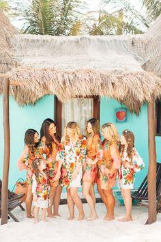 Cute robes: http://www.stylemepretty.com/destination-weddings/2015/05/08/destination-tulum-mexico-beach-wedding/ | Photography: BrittRene - http://brittrenephoto.com/