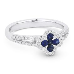 0.50ct Sapphire Cluster & Diamond Double-Halo Right-Hand Splitshank Flower Ring in 14k White Gold - AlfredAndVincent.com