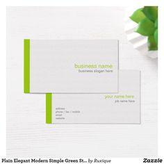 Plain Elegant Modern Simple Green Stripe on White Business Card #Plain #Elegant #Modern #Simple #Green #Stripe #White #BusinessCard