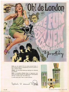 The Fun Fresh New Cologne from Yardley of London. Oh! de London ad in The Australian Women's Weekly on April 24,1968. The ad features Dinah Lee (the stage name of New Zealand-born singer, Diane Marie Jacobs, who performed 1960s pop music).