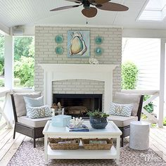 A wood-burning fireplace keeps the porch cozy during colder months, perfect for gathering around and roasting s'mores on a chilly night. A gas start ensures a quick kickoff to a toasty fire.