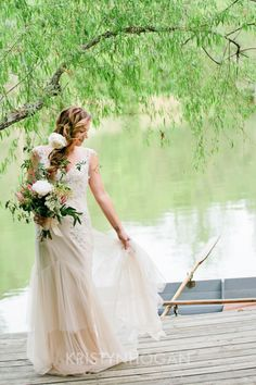 Romantic, sophisitacted, chic....by a lovely lake. blush wedding dress - Sarah Janks Briana via The Dress Theory Nashville. Photo by Kristyn Hogan at Cedarwood Weddings.