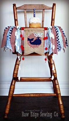 NAUTICAL WHALE Birthday Age High Chair by RawEdgeSewingCo on Etsy