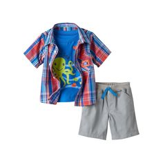 Baby Boy Boyzwear Plaid Shirt & Shorts Set, Size: 12 Months, Red