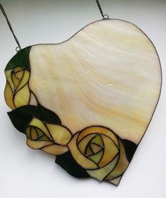 Heart stained glass decor, Suncatcher for window, Rose stained glass panel Stained Glass Mirror, Stained Glass Flowers, Mirror Mosaic, Stained Glass Designs, Stained Glass Projects, Stained Glass Patterns, Leaded Glass, Stained Glass Windows, Mosaic Wall