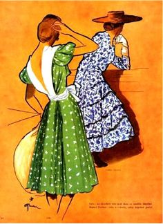 Illustration by René Gruau, 4/1946, Dresses by Madame Grès & Marcel Rochas, L'Officiel.
