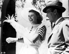 Ingrid Bergman and Humphrey Bogart on the set of Casablanca, 1942