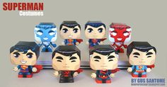 Create this set of eight Superman costumes in papercraft courtesy of Gus Santome. From the the Electric costumes and to the 2011 The New 52 version. Superman Crafts, Superman Costumes, Diy Paper, Paper Art, Paper Crafts, Man Of Steel, Minions, First Superman, Superman Stuff