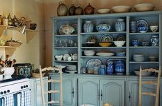 —pinned from One Kings Lane French country blue kitchen with blue and white porcelain. French Country Chairs, French Country Kitchens, Country Blue, French Kitchen, French Country House, Country Farmhouse, Kitchen Country, Rustic Blue, Rustic Kitchen
