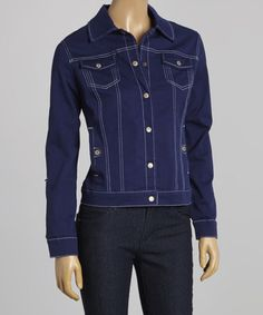 Another great find on #zulily! Navy Denim Jacket - Women by Live A Little #zulilyfinds