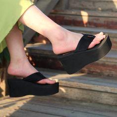 Summer wedges flip flops platform skid shoes