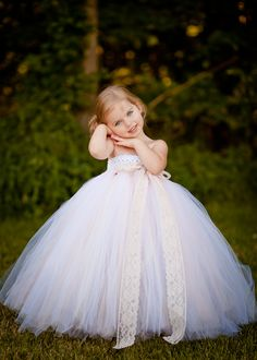 Flower Girl Tutu Dress in Vintage Daydream with Lace Accent.