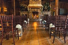 Looking for a more intimate venue? Try one indoors in front of a beautiful fireplace. Feel the warmth of love! #WeddingVenue #FallWedding #WinterWedding