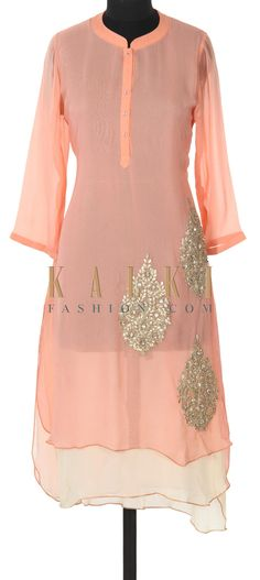 Buy this Peach and cream kurti adorn in gotta patch butti only on Kalki