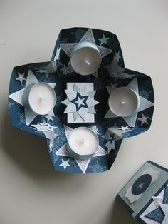 2 Stampin Up EXPLOSION BOX Advent wreath  to go / in a box with the new FRAMELITS : STARS and Bright & Beautiful  STAMPS ..... Adventskranz to go / in der Box  mit den neuen FRAMELITS STAR KOLLEKTION und den passenden STEMPELN : ZAUBER DER WEIHNACHT ..... ANLEITUNG / DIY : http://lovelymade.me/