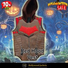 #Halloween Hot offer Get 70% #VideoGame Gotham Knights Red Hood Brown Leather Hooded Vest. #HalloweenSale #Halloween #Sale #2021 #OOTD #Style #Cosplay #Costum #men #fashionstyle #women #shopnow #Clothes #leather #discountoffer #outfit #vest #onlineshopping #discount #buymypremium #celebrities #offers #fashion