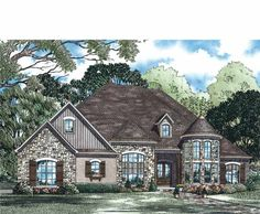 French Country House Plan with 3052 Square Feet and 4 Bedrooms from Dream Home Source | House Plan Code DHSW73371