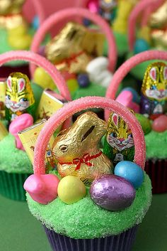 Easter Cupcakes- Can use green coconut for grass and bunny Peepsand jelly beans instead of chocolate.